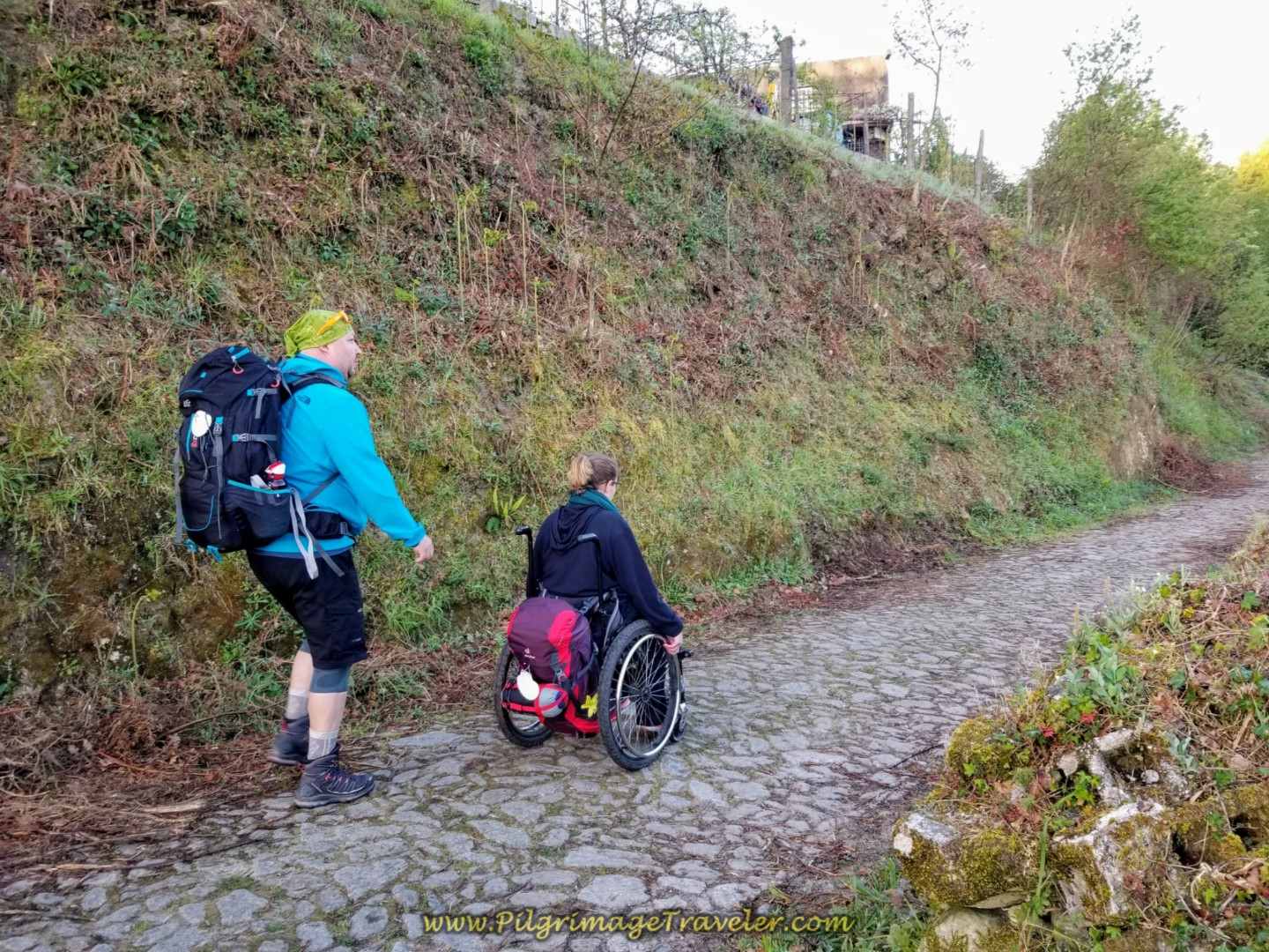 Michal and Magdalena Navigate on the Cobblestone Lane on day nineteen on the Central Route of the Portuguese Camino