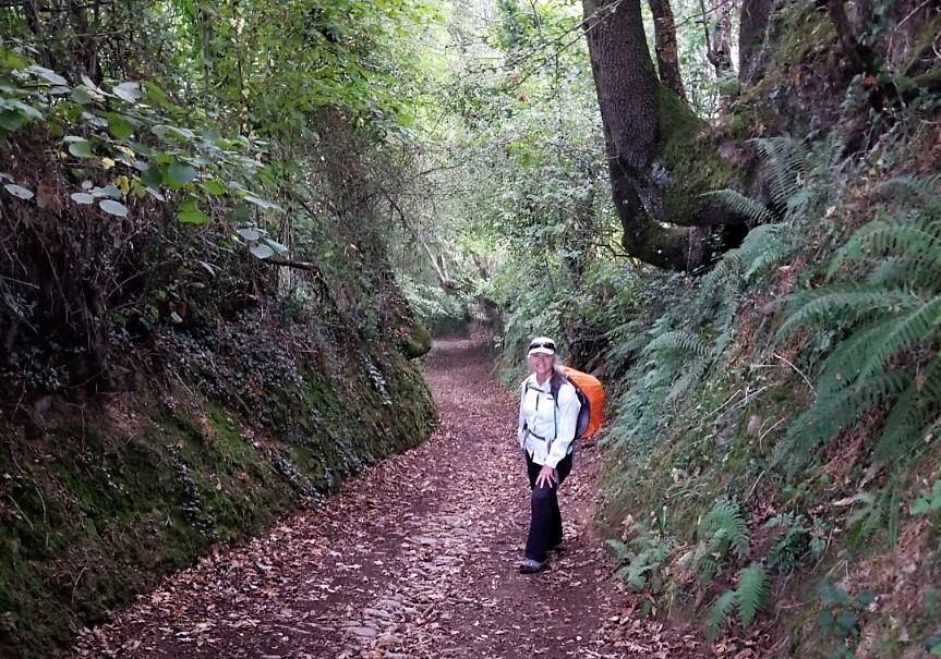 Elle on Downhill Path from the Hermitage on day five of the Camino del Salvador