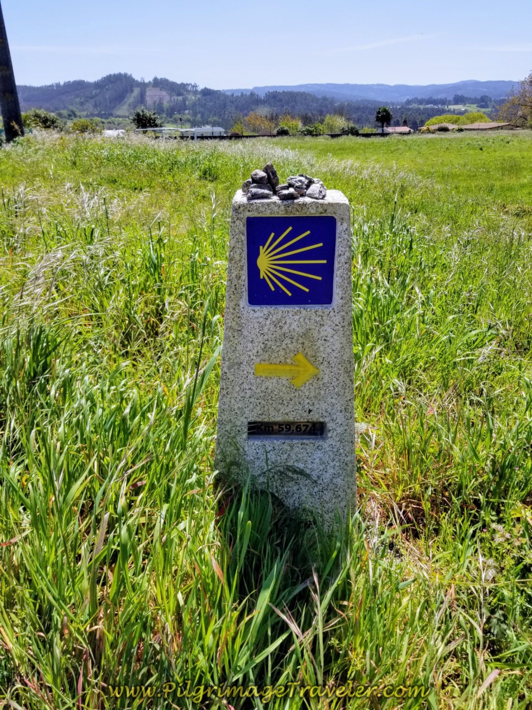 Kilometer Marker 59.7 in the Galician Countryside on day five of the Camino Inglés