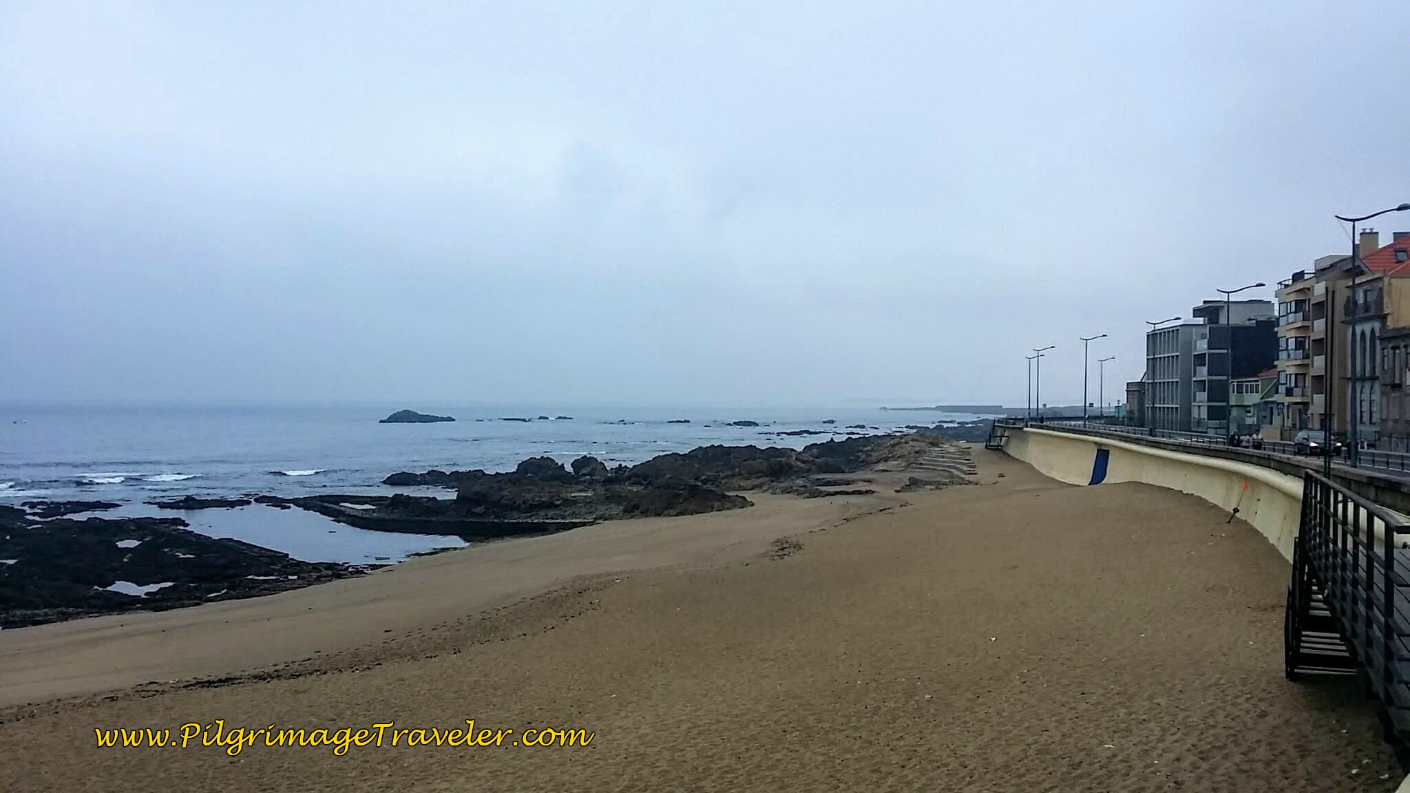 Praia do Ourigo on the Atlantic on day fifteen of the Camino Portugués on the Senda Litoral