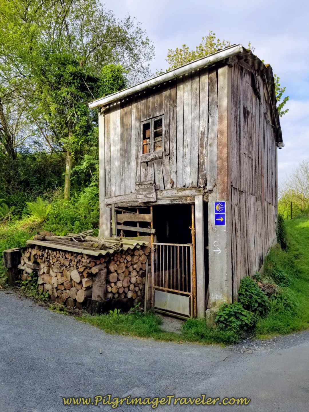 Turn Right at Quaint Woodshed on Day four of the Camino Inglés