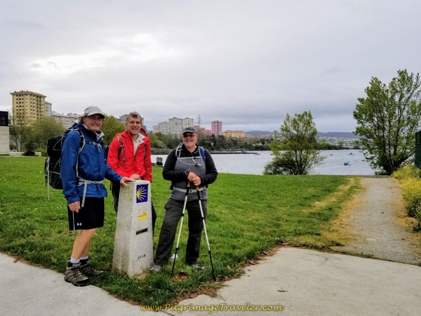 Rob, Rich and Steve at the Right Turn Onto Waterfront Pathway on day one of the Camino Inglés
