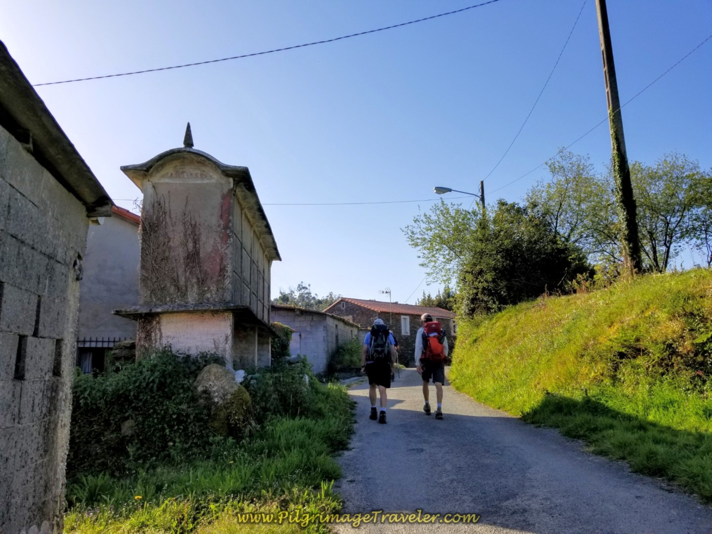 Rob and Rich Pass Horreo, Walking Through Vao on day six of the Camino Inglés