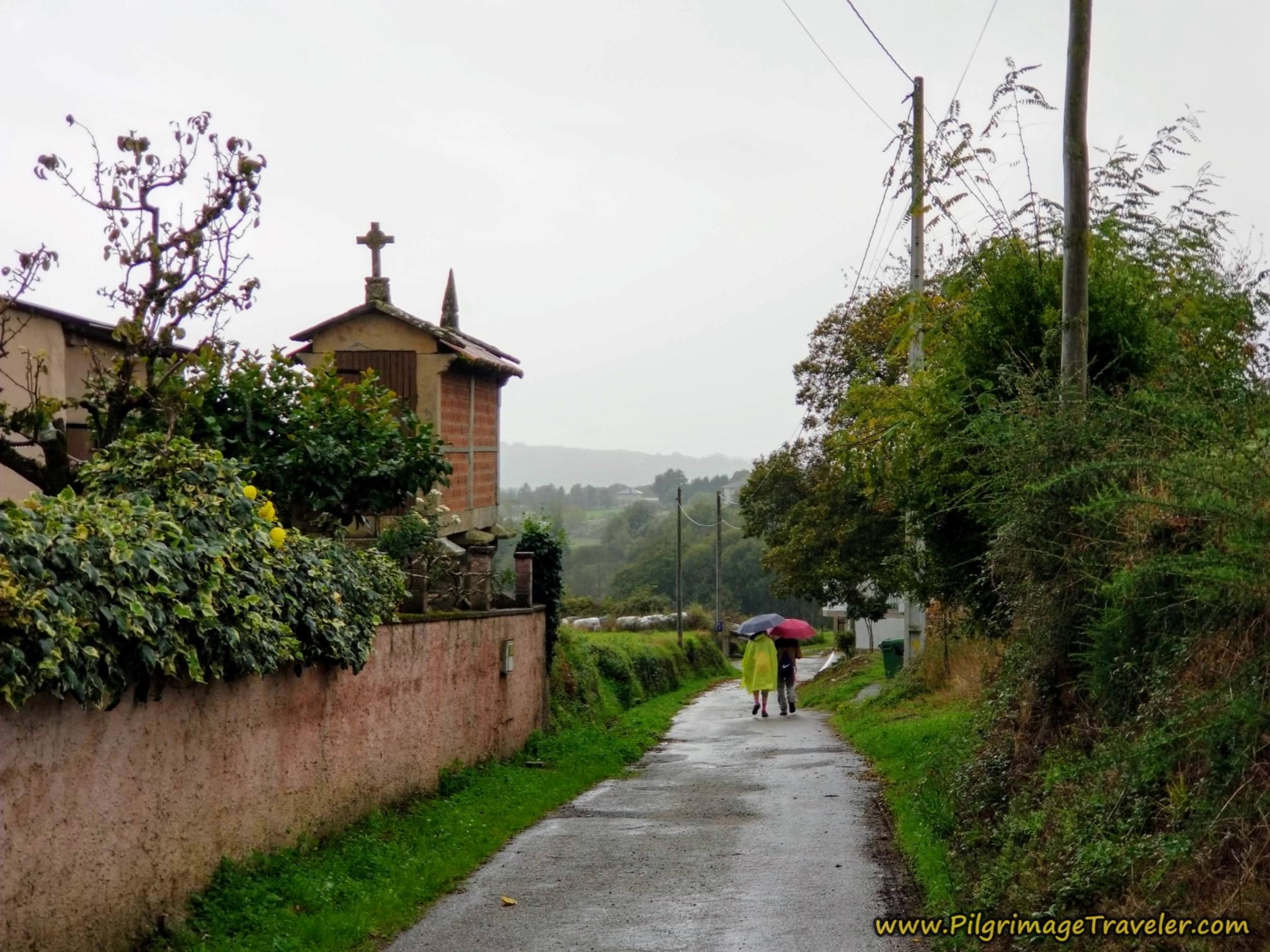 Umbrellas Pass an Hórreo
