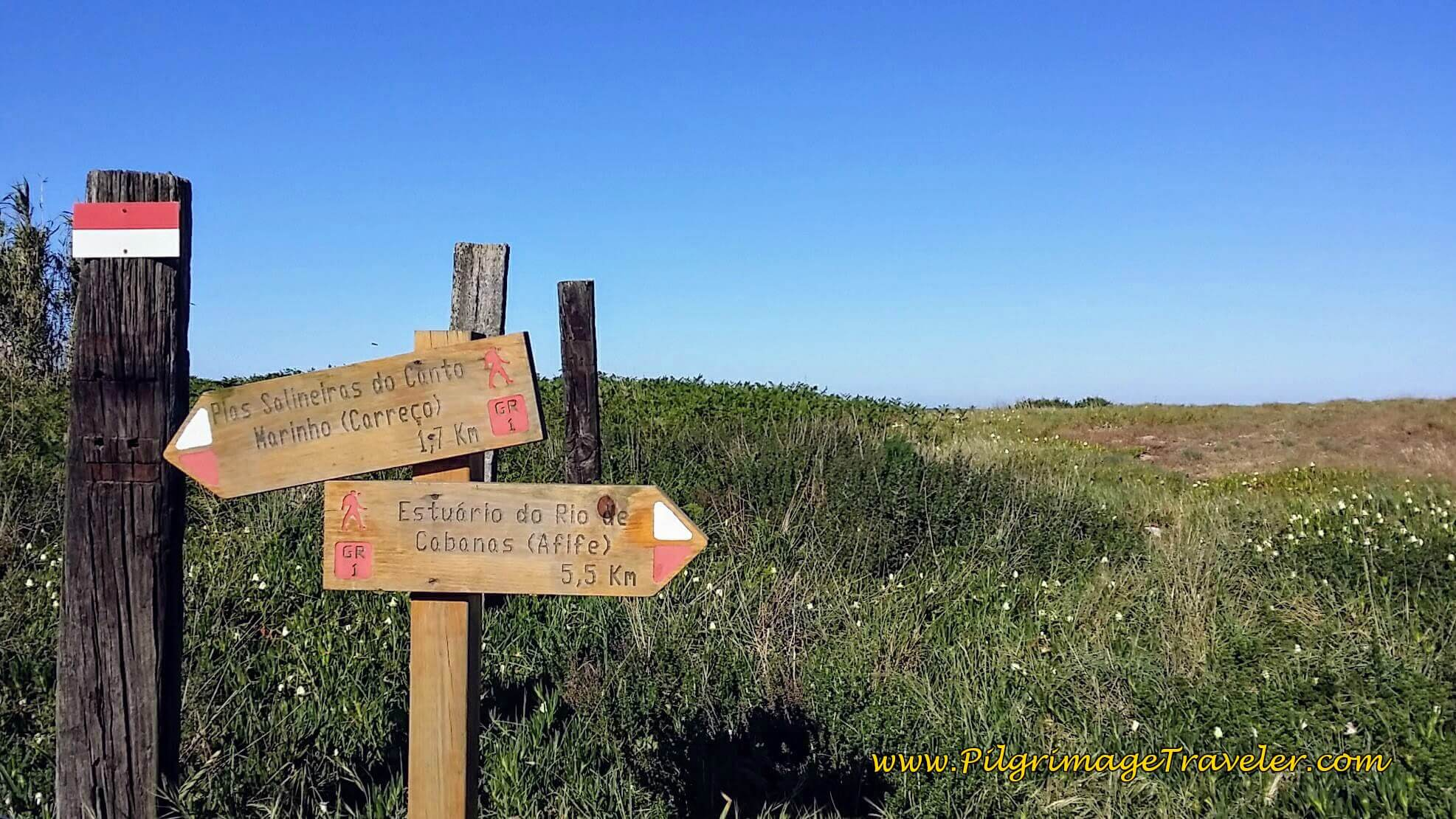 Signpost on Trail System to Afife on day eighteen of the Camino Portugués on the Senda Litoral
