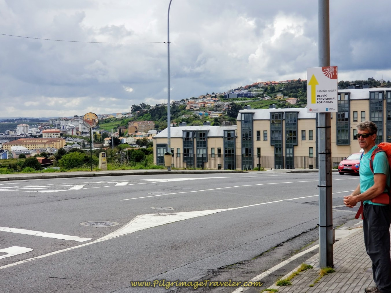 Crosswalk by Provisional Detour Sign on day one of the La Coruña Arm of the Camino Inglés