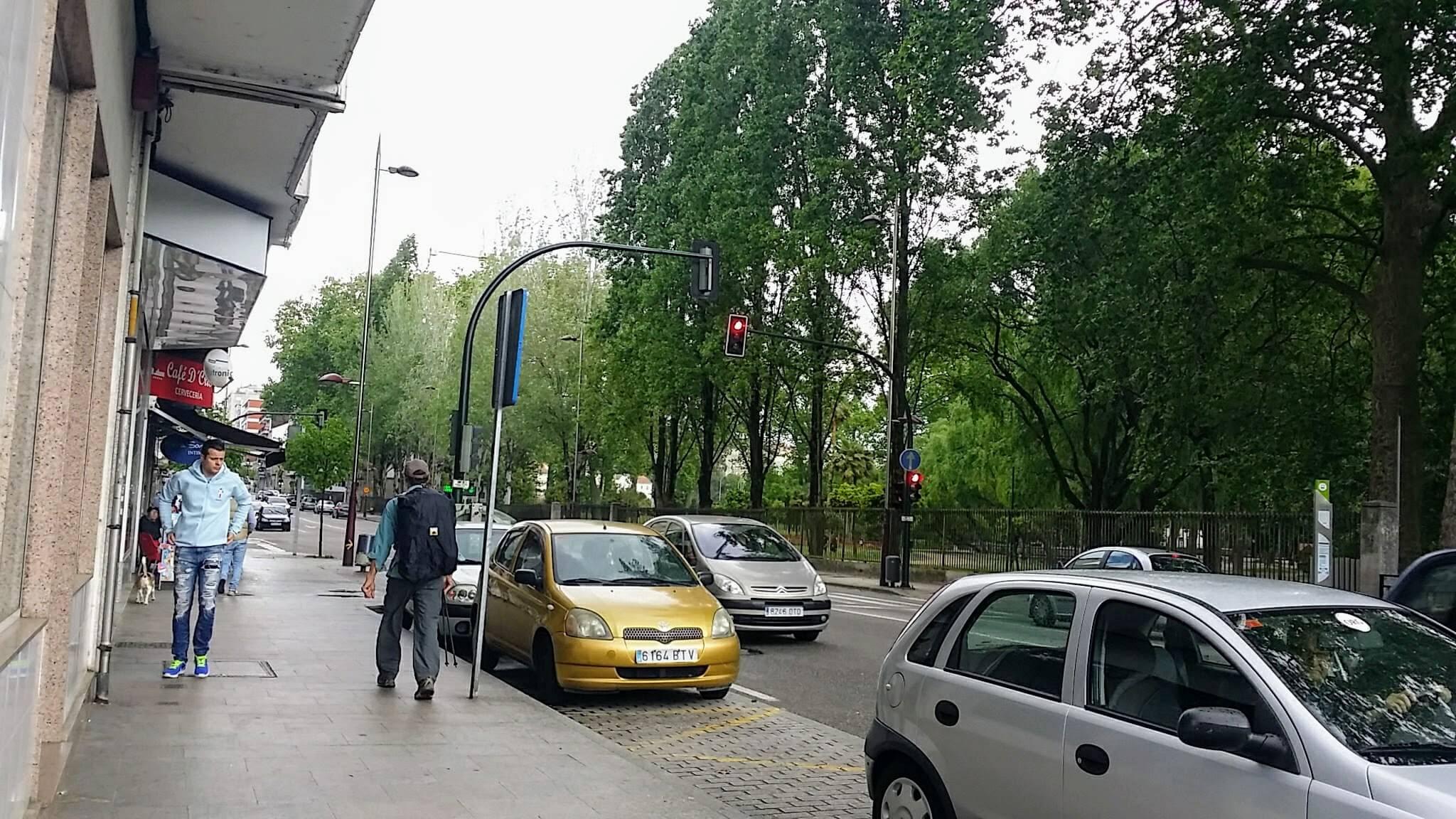 Avenida de Castrelos by the Parque de Castrelos, in Vigo, Spain on day twenty-one of Portuguese Way