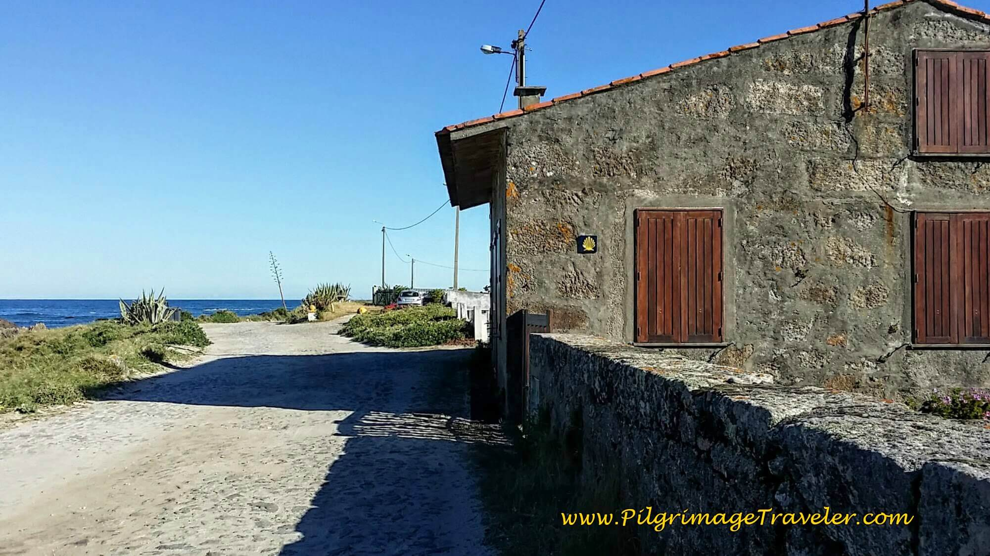 Home of Camino Angel with Waymark on day eighteen of the Camino Portugués on the Senda Litoral