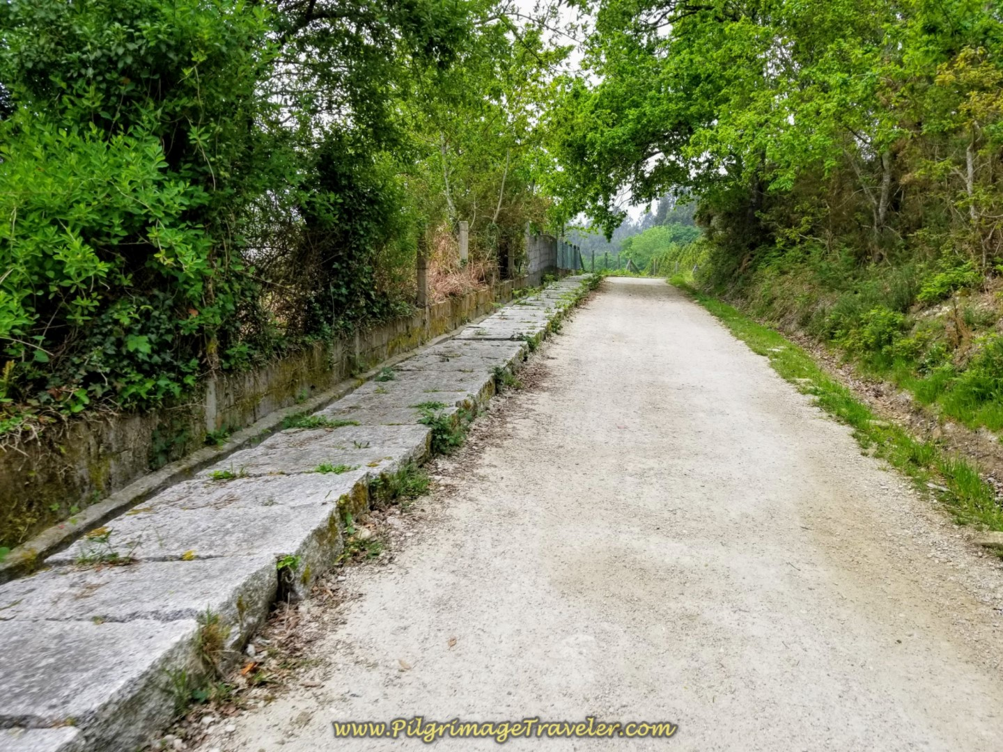 A Section of Road with Pavers to Walk Upon on day one of the Camino Finisterre