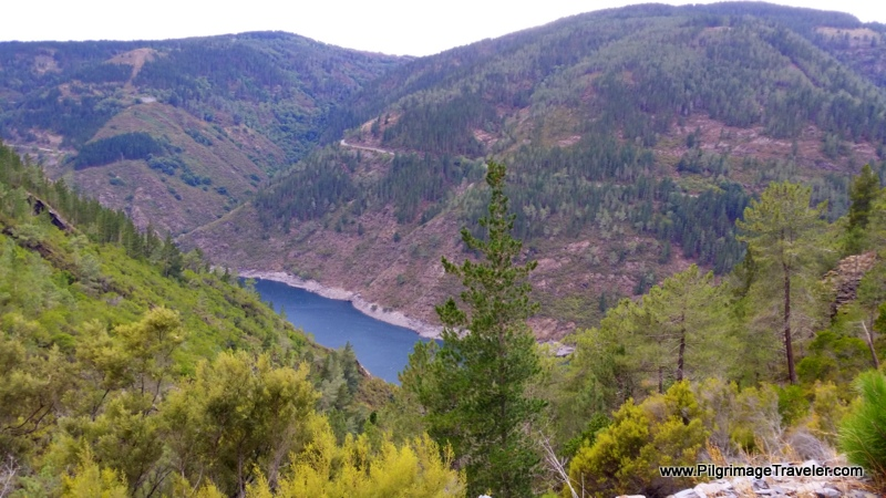 Final High View of the Reservoir near Grandas de Salime, Asturias, Spain