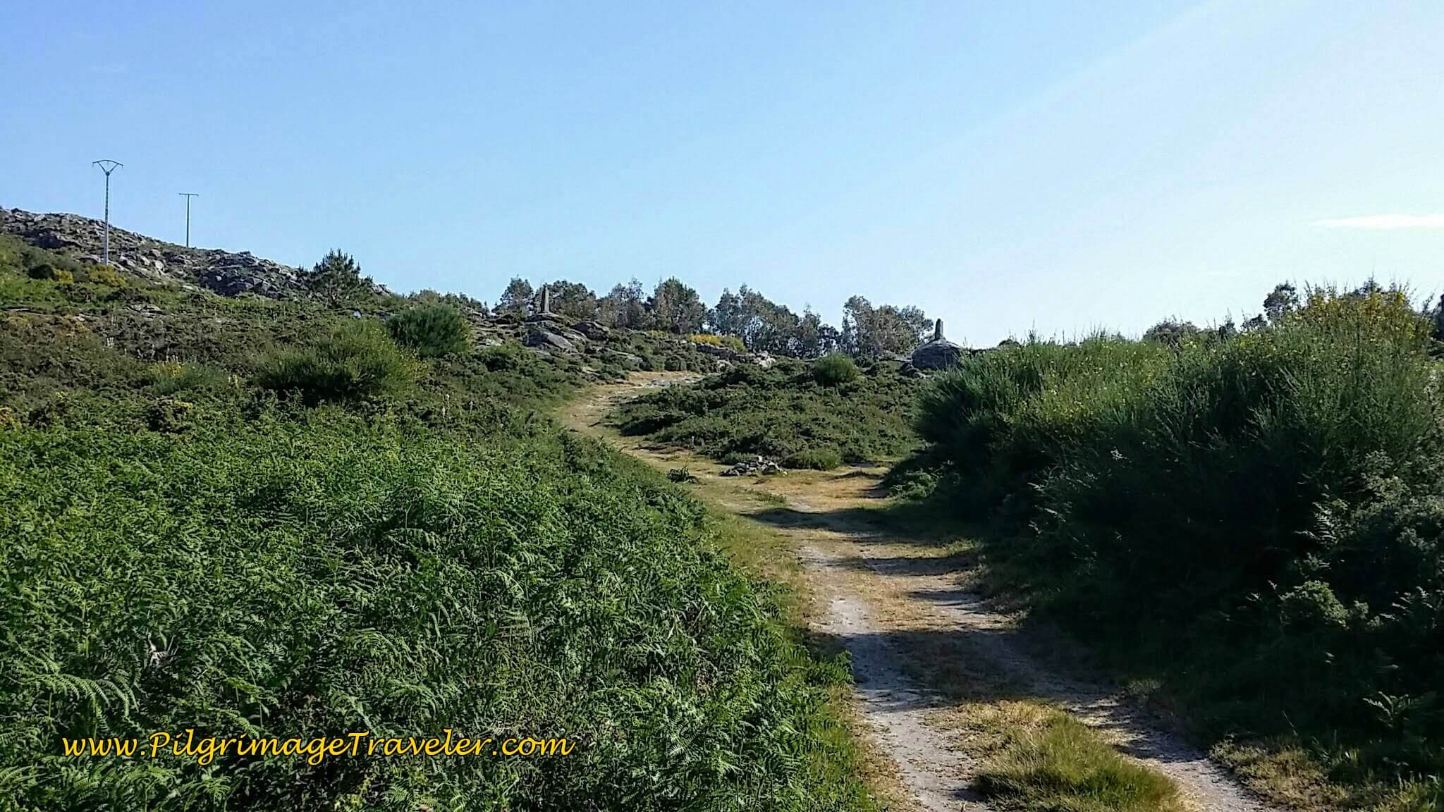 The summit is Ahead at the Obelisks on day twenty of the Portuguese Way, Coastal Route