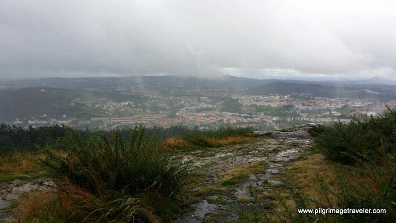 View of Santiago de Compostela from the top of Monte Pedroso, Galicia, Spain.