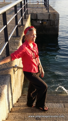 Elle on Port Steps of Ferrol