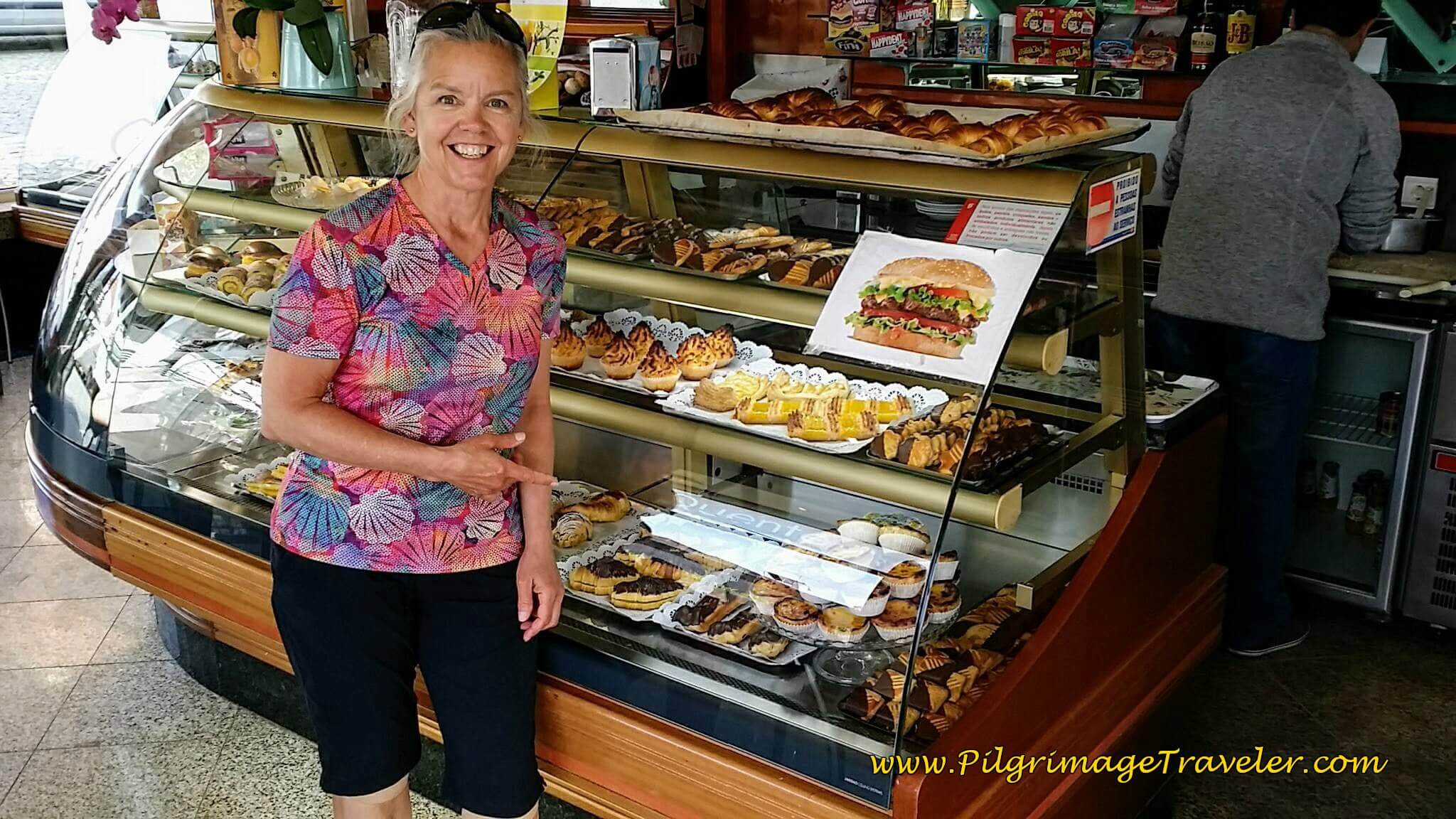 Elle in the Doce Romana Pastry Shop on the Rua Romana in Lourosa on day fourteen of the Camino Portugués