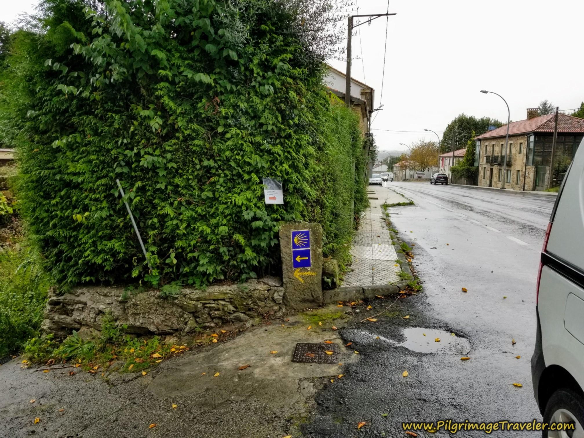 Leave the N-525 on this Path on the Camino Sanabrés, Estación de Lalín to Bandeira