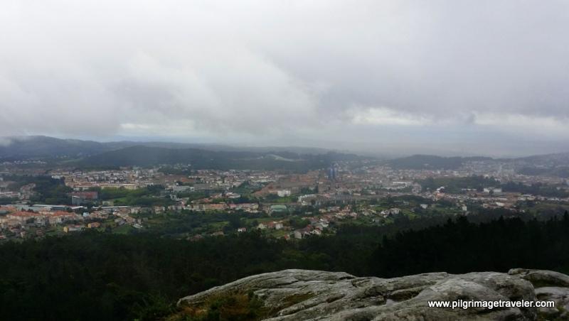 View of Santiago de Composela from the top of Monte Pedroso, Galicia, Spain.