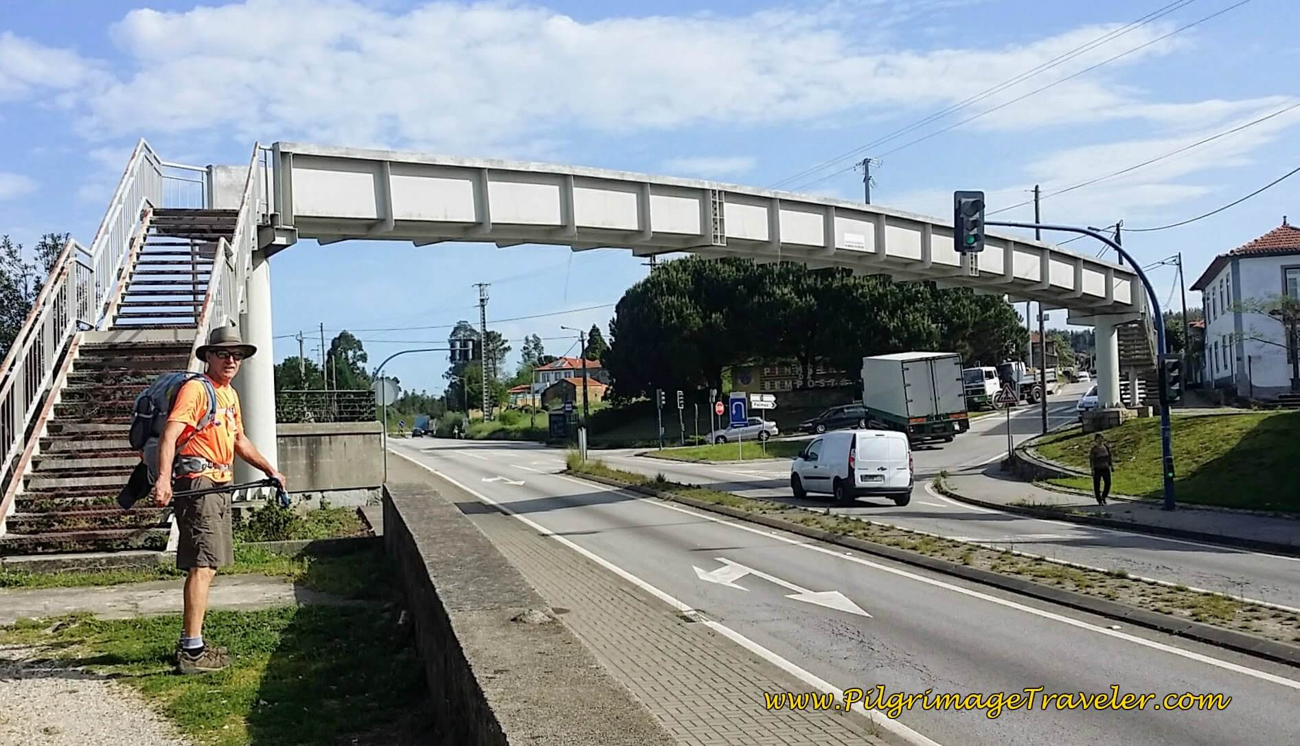 Up and Over the N1 on Pedestrian Bridge on the Portuguese Way