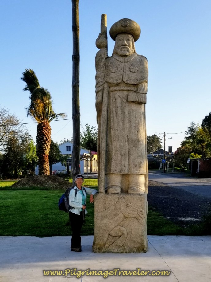 Elle at Santiago Statue on day seven of the Camino Inglés
