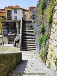 Lower level stairs to the Plaza Below in Porto, on day fifteen on the Central Route of the Camino Portugués