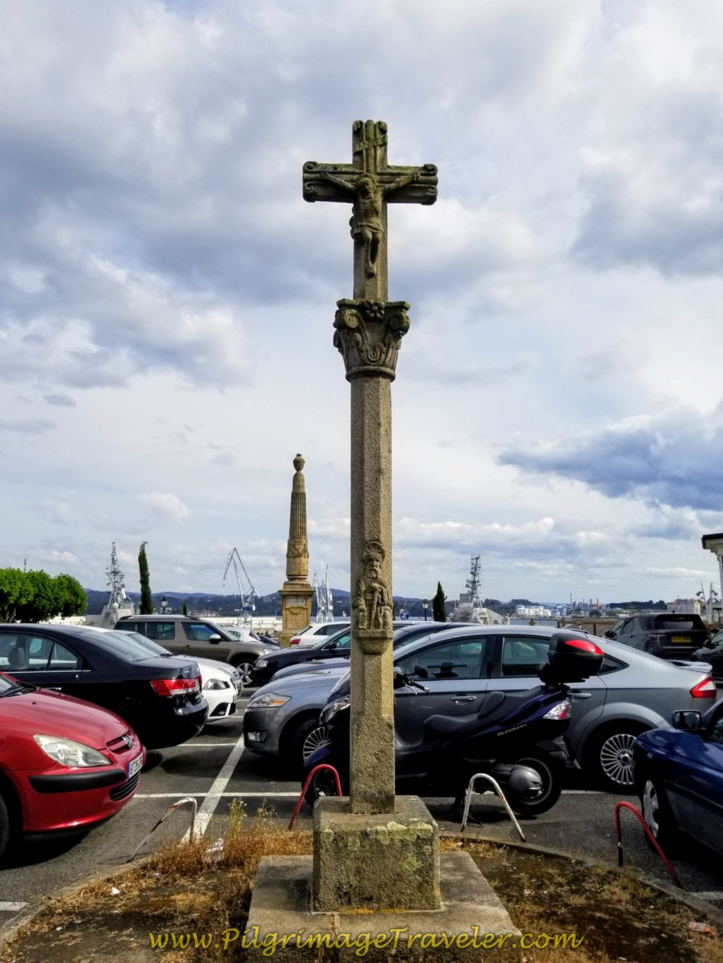 Pass the Santiago Cross by the Parador de Ferrol on day one of the Camino Inglés
