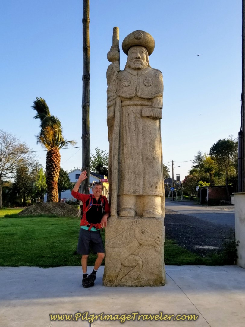 Rich at Santiago Statue on day seven of the Camino Inglés