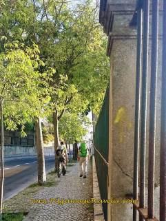 Yellow Arrow on the Calçada da Cruz da Pedra, Lisbon, Portugal
