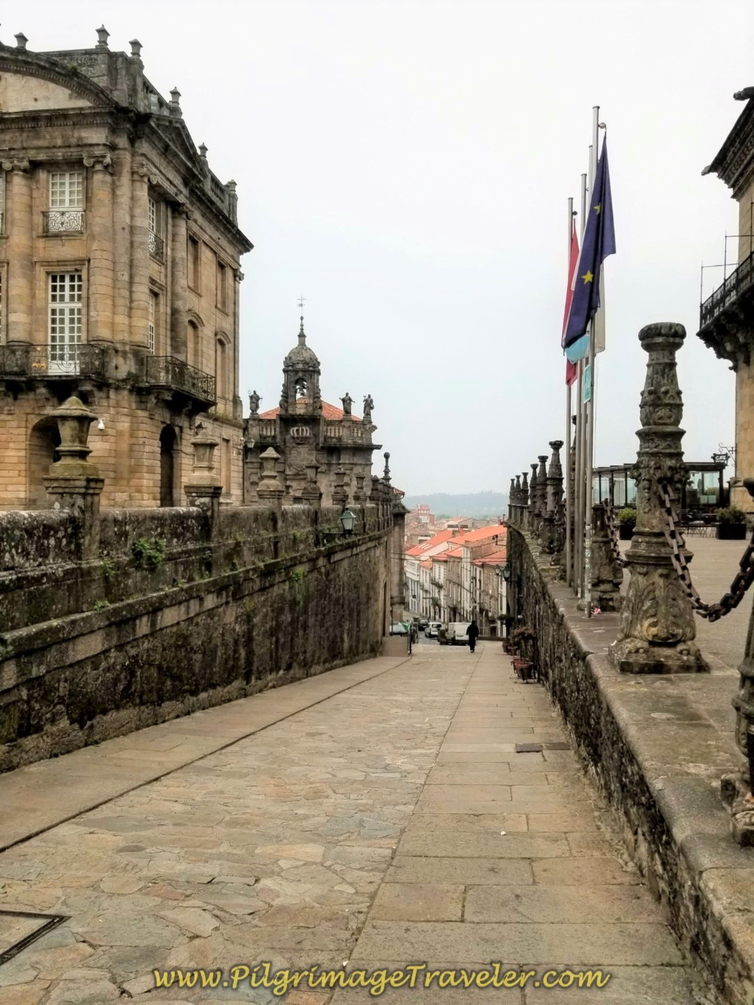 Leaving Obradoiro Square on the Rúa do Campo das Hortas in Santiago on day one of the Camino Finisterre