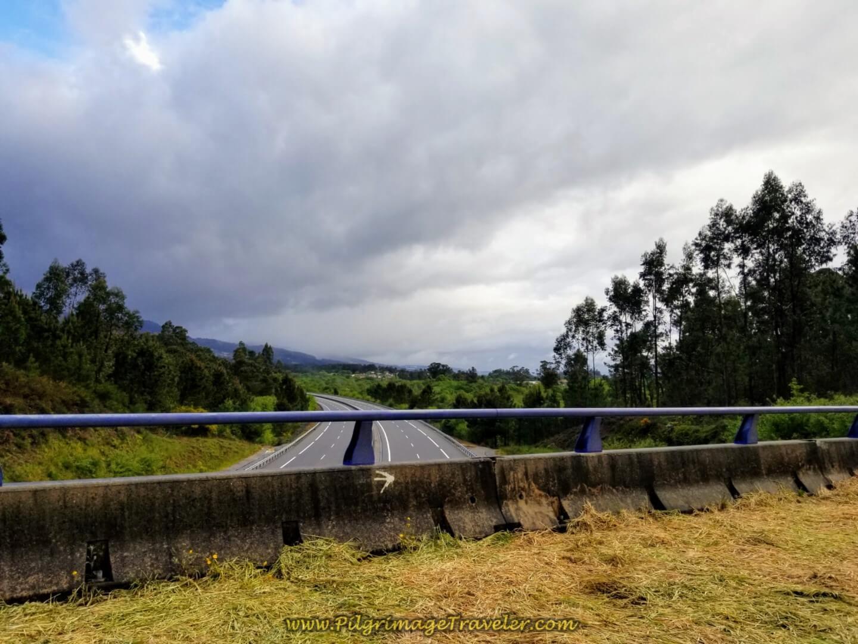 Crossing Over the Autopista del Atlántico, E-1 on day twenty on the central route of the Portuguese Camino