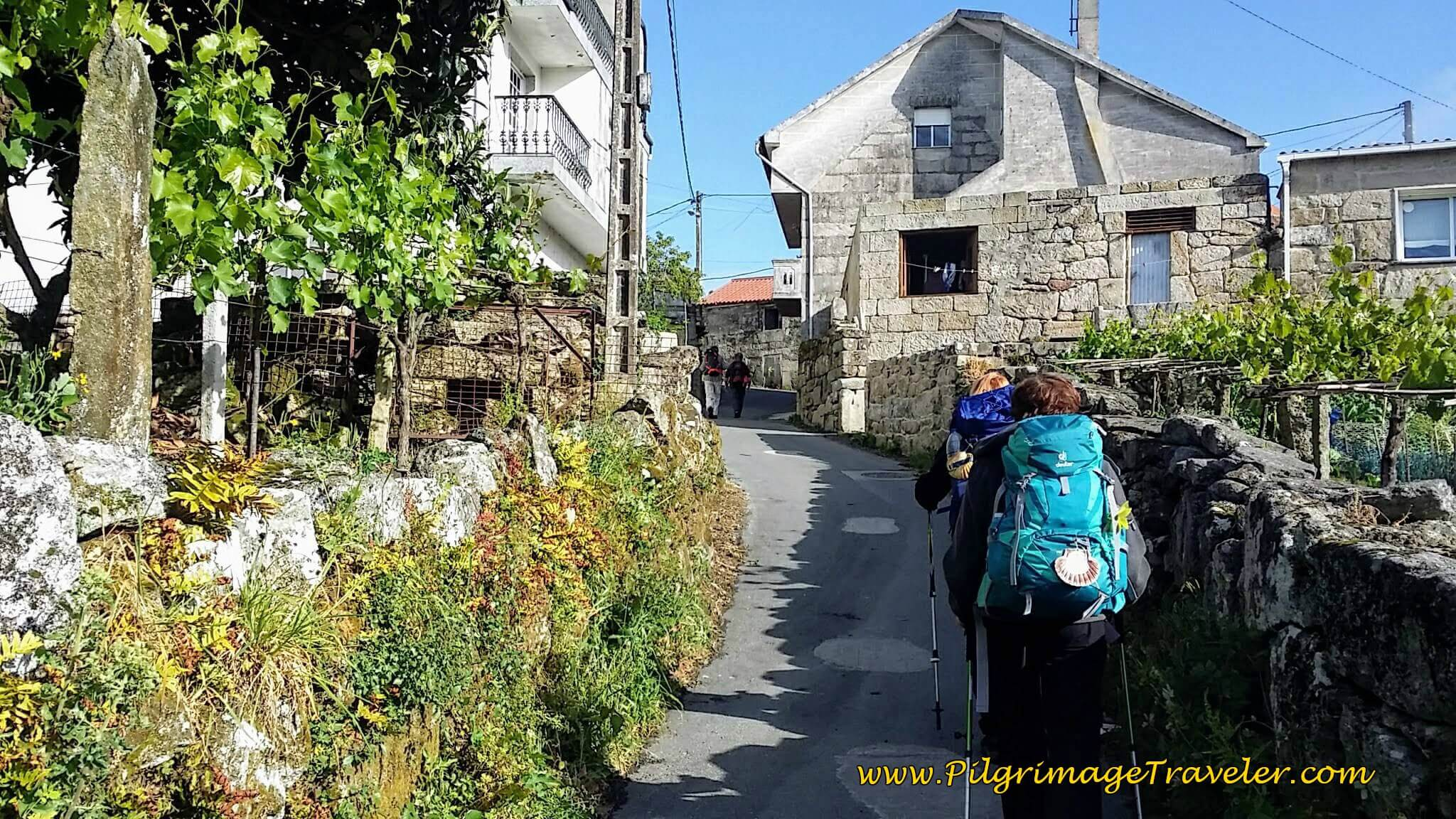 Pilgrims Climbing Up Concello Street in Arcade, day twenty-two on the Camino Portugués