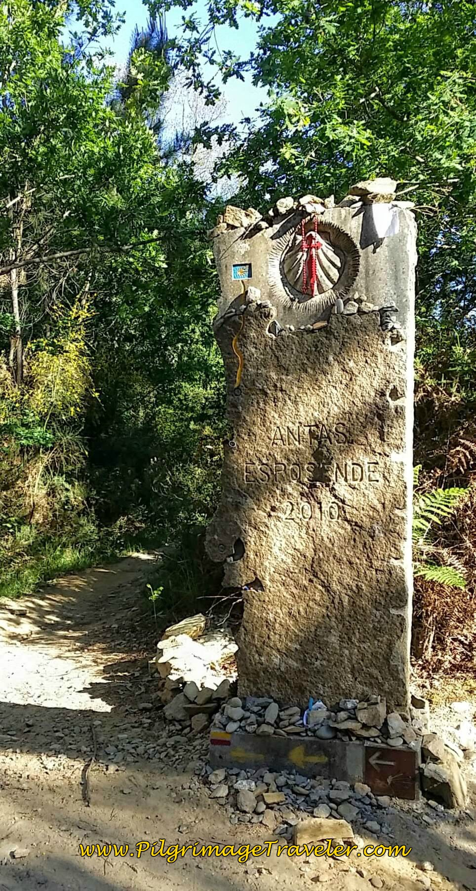 Turn Onto Forest Path at this Pillar on day seventeen of the Portuguese Way