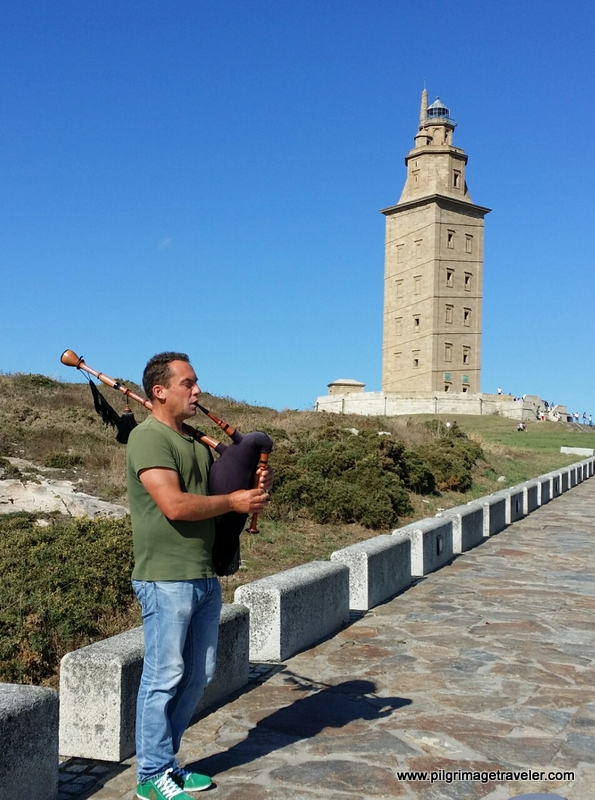 Bagpiper at the Tower of Hercules, La Coruña, Galicia, Spain