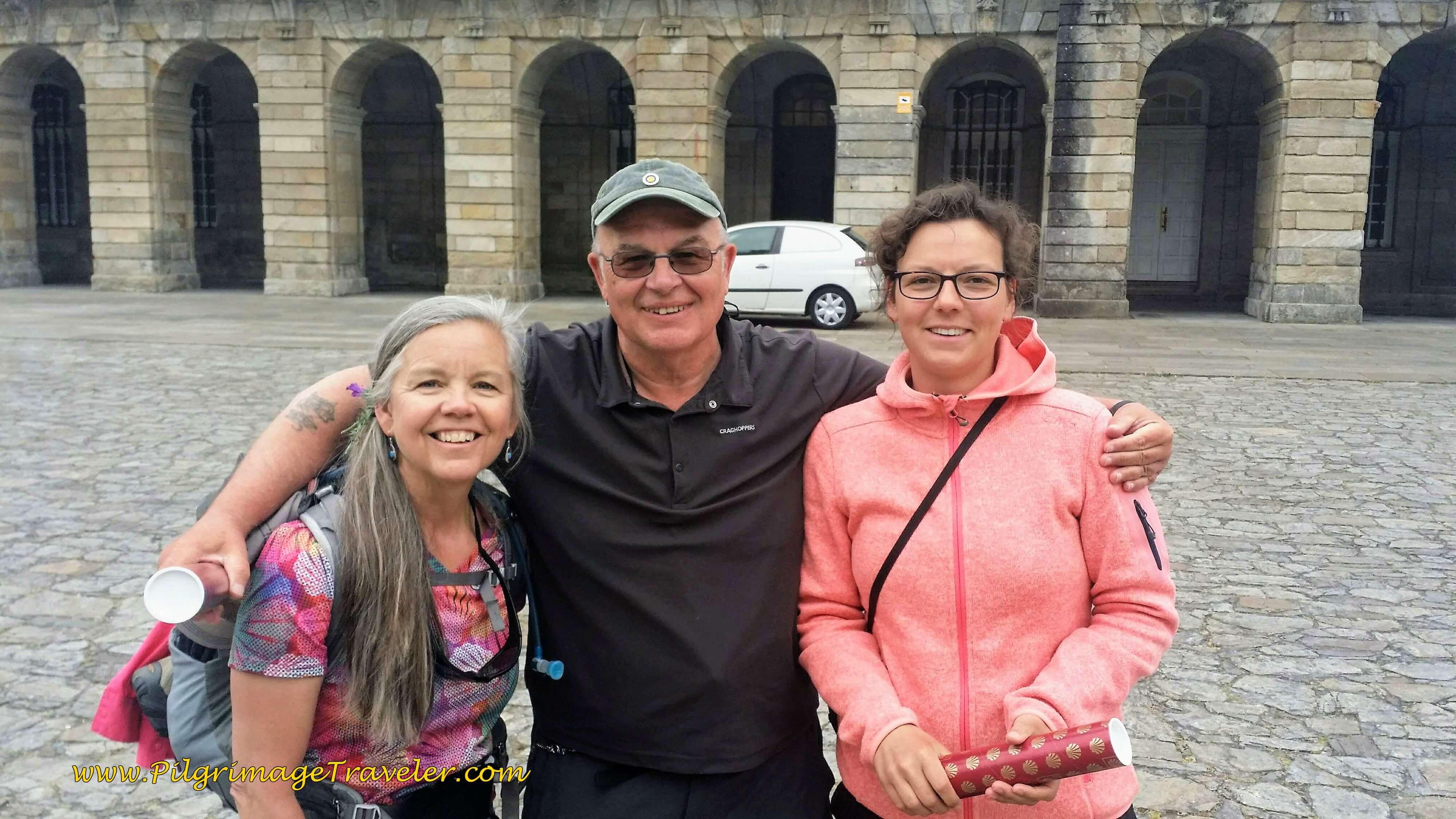 Reunion at Obradoiro ~ Elle, Steve and Lisa
