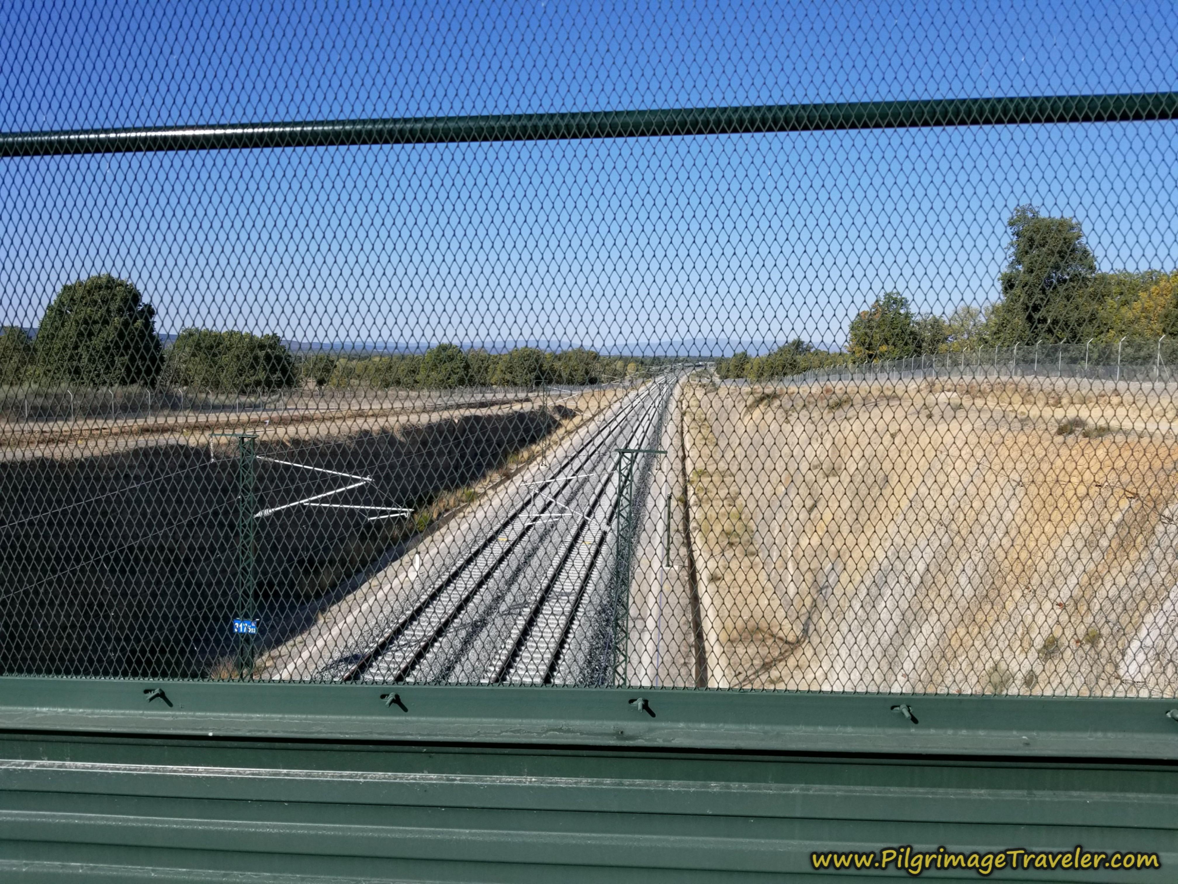 Cross Railroad Tracks on a Bridge on the Camino Sanabrés from Rionegro del Puente to Entrepeñas