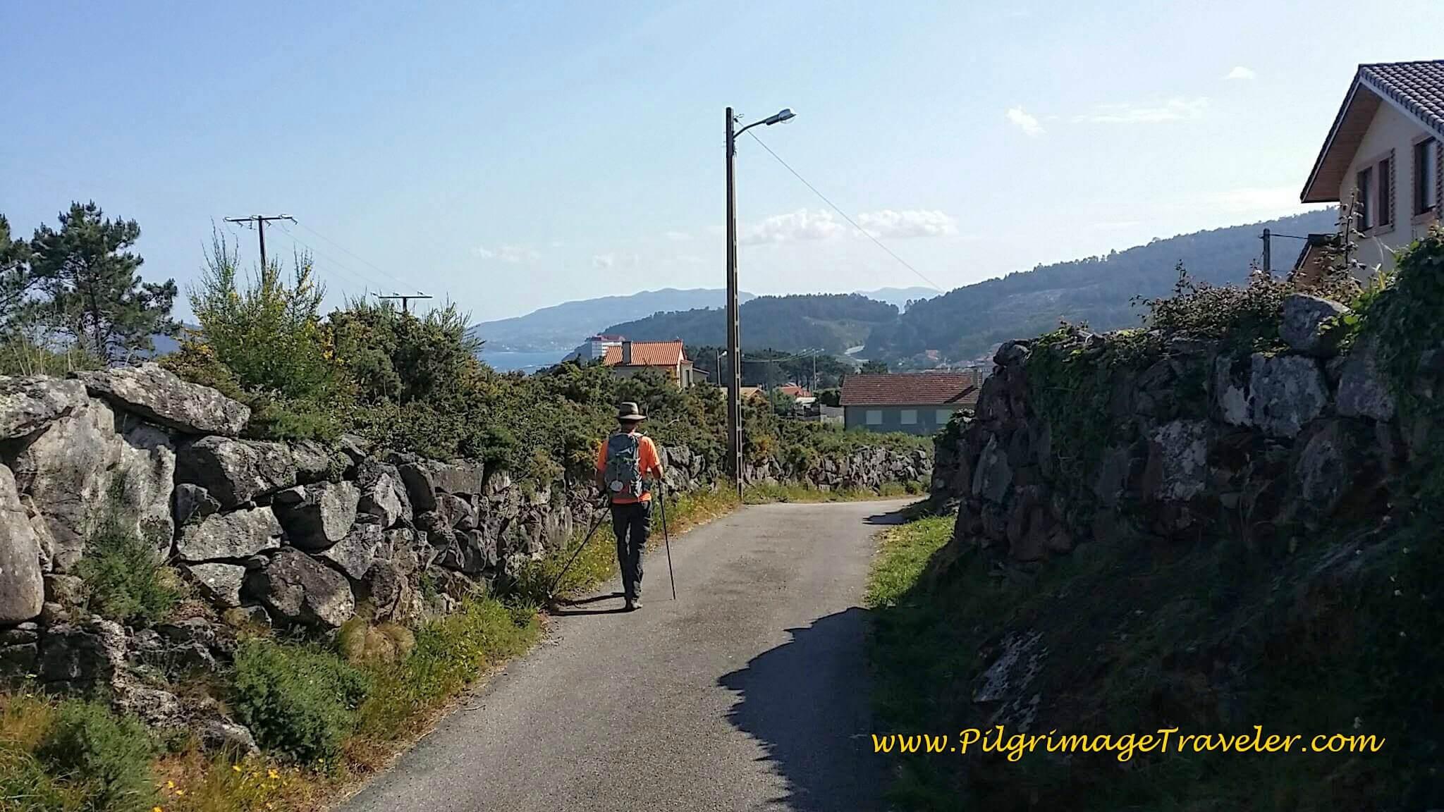 Walking on O Cabreiro St. for 0.9 Kilometers on day twenty, Camino Portugués da Costa