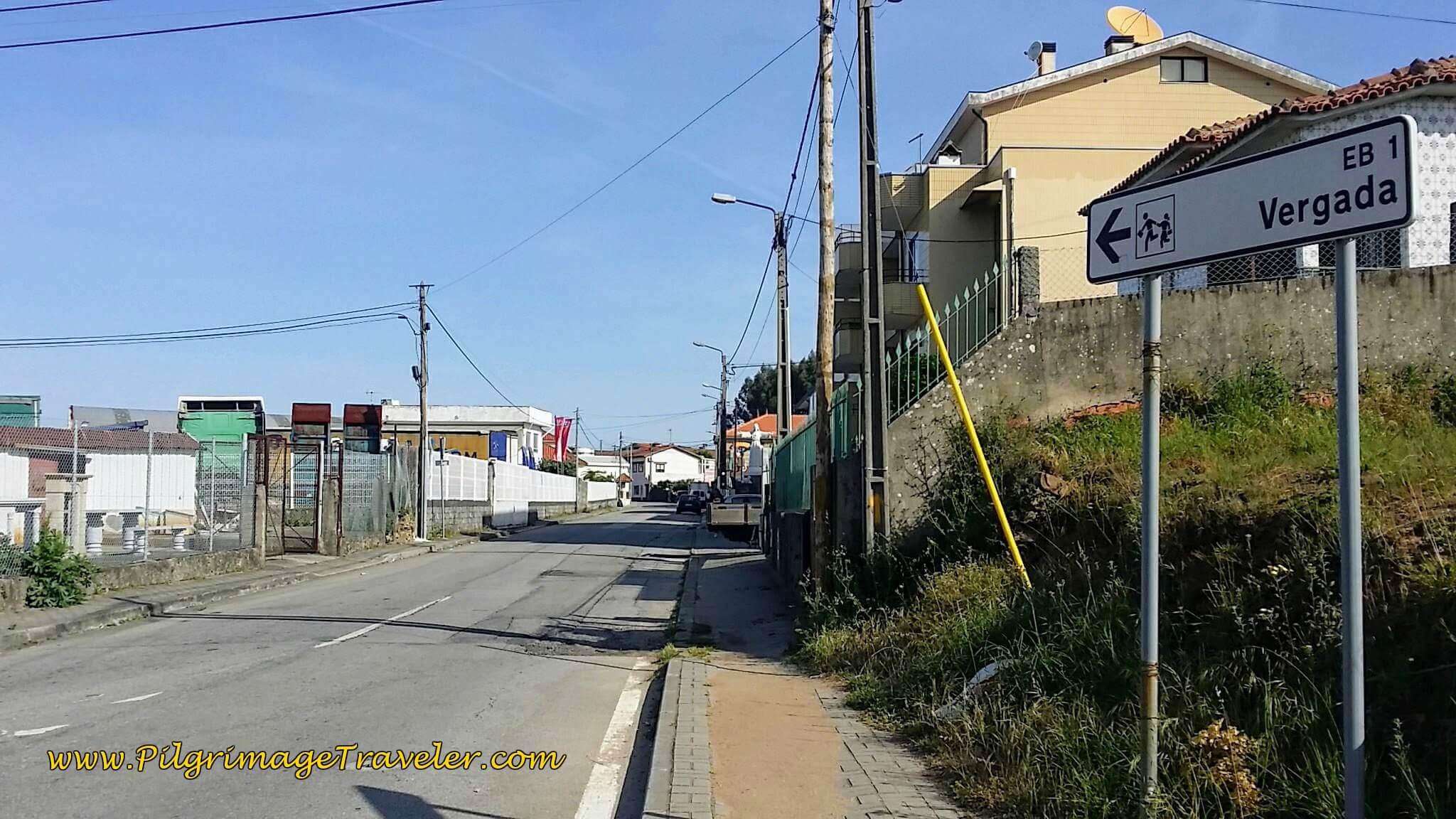 Signpost to Vergada on day fourteen of the Camino Portugués