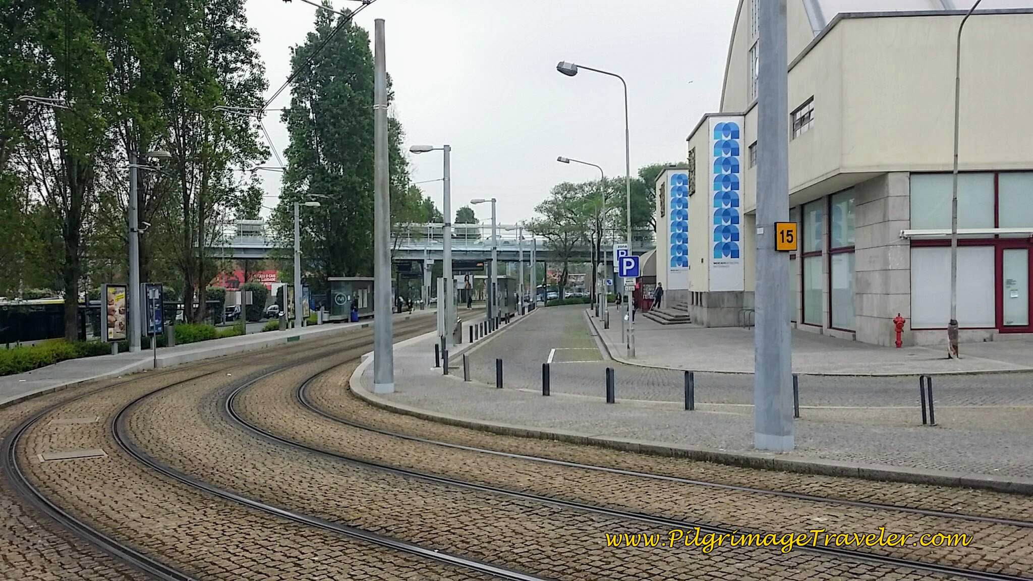 Matosinhos Metro Station and Tracks on day fifteen of the Camino Portugués on the Senda Litoral