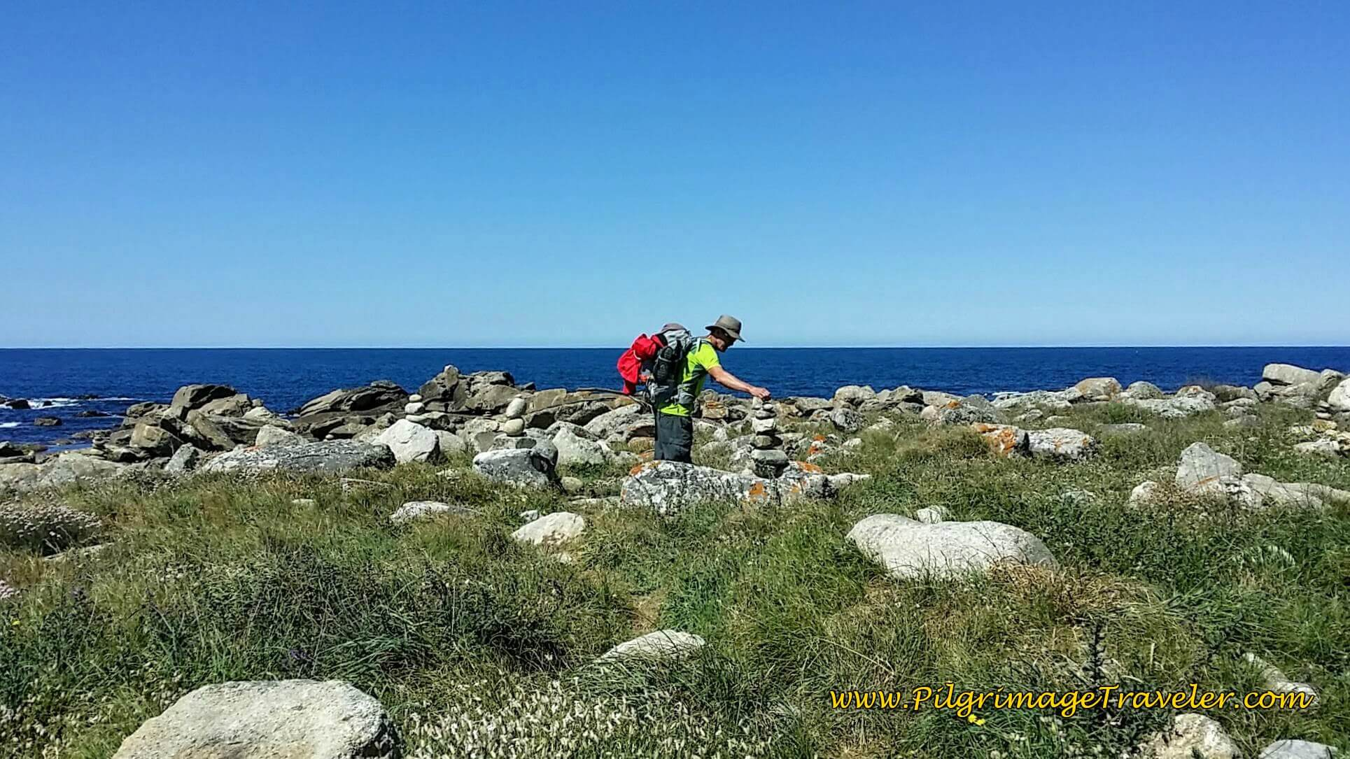 Rich adds to a Cairn on the Spanish Coast near A Guarda