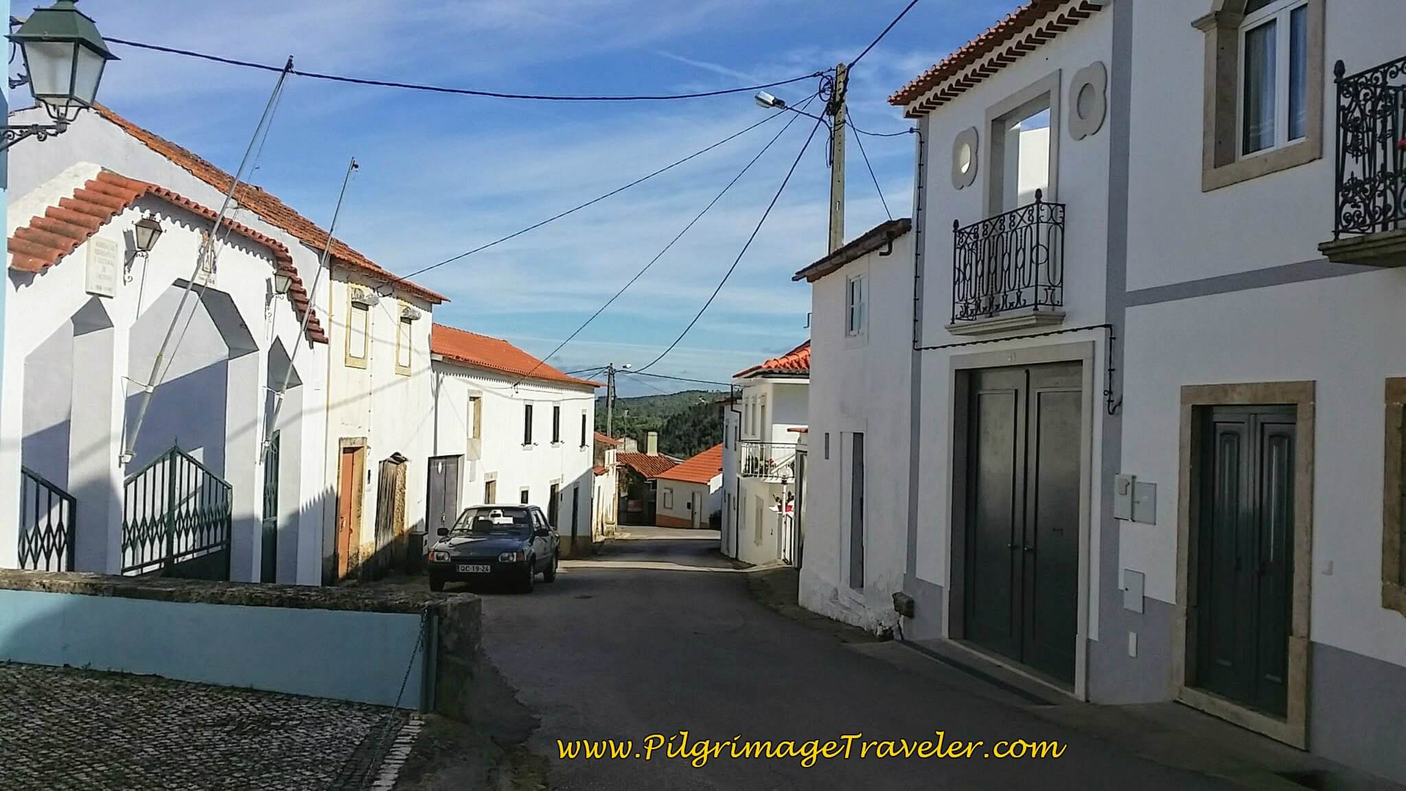 Walking Through Calvinos on the Rua Capela on the Portuguese Camino