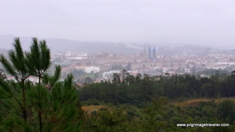 View of Cathedral, Santiago de Compostela from the top of Monte Pedroso, Galicia, Spain.