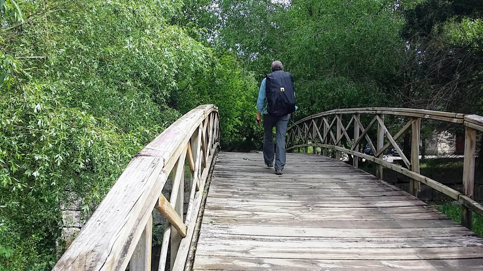 Crossing the River Lagares on Footbridge on day twenty-one of Portuguese Way