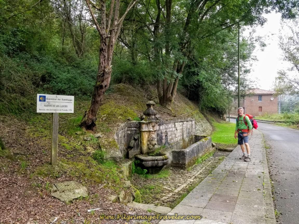 Rich at the Fuente de los Llocos in Olloniego on the Camino del Salvador
