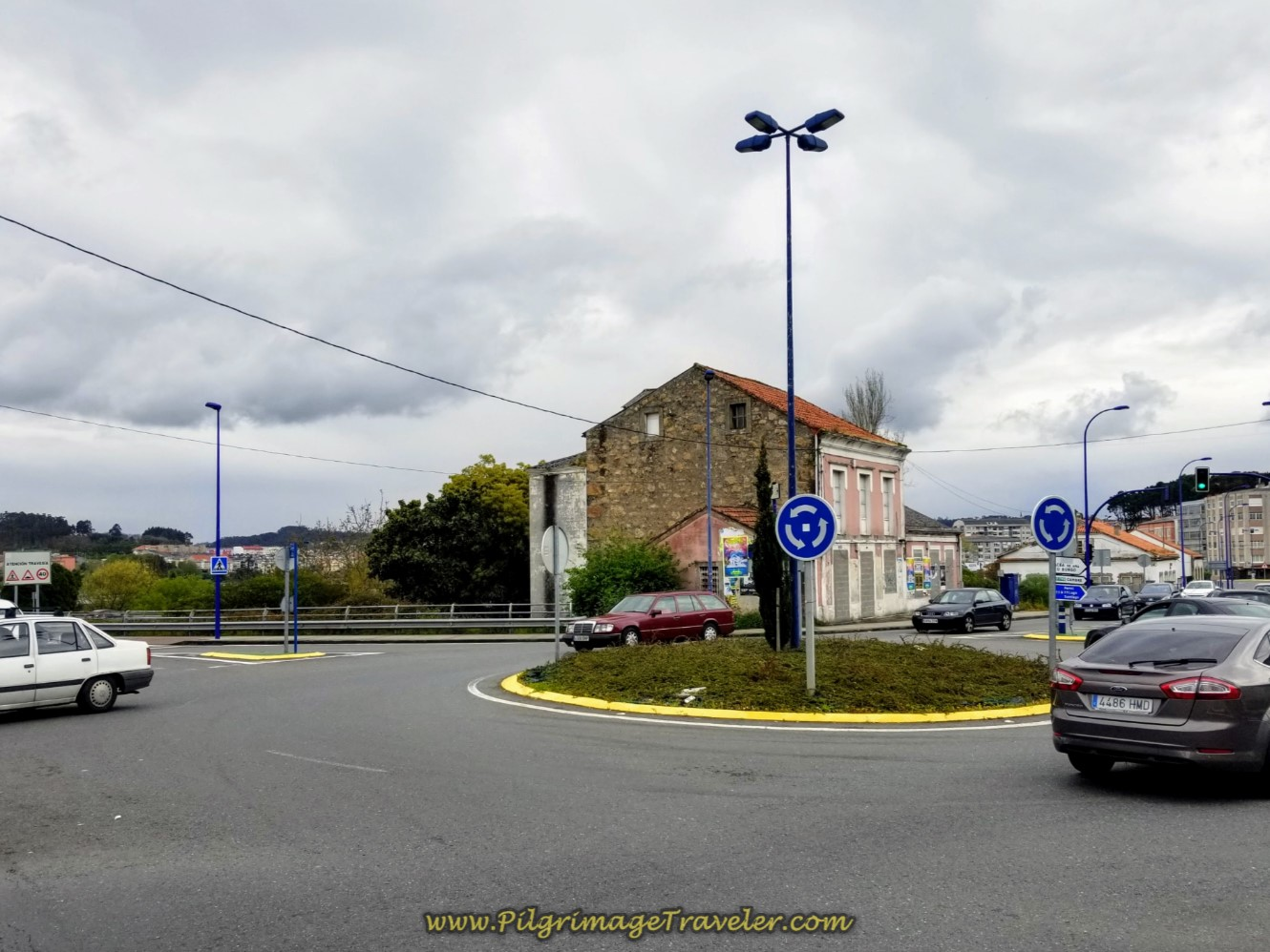 Left at Roundabout Toward the River on day one of the La Coruña Arm of the Camino Inglés