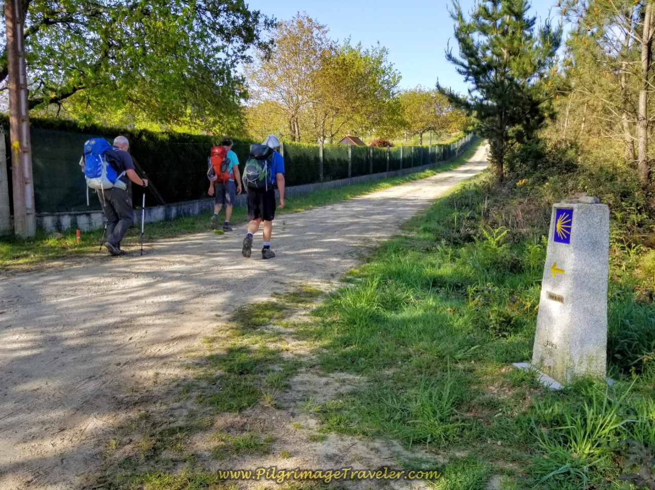 Pass by the 8.9 Kilometer Marker on Dirt Lane on day eight of the Camino Inglés