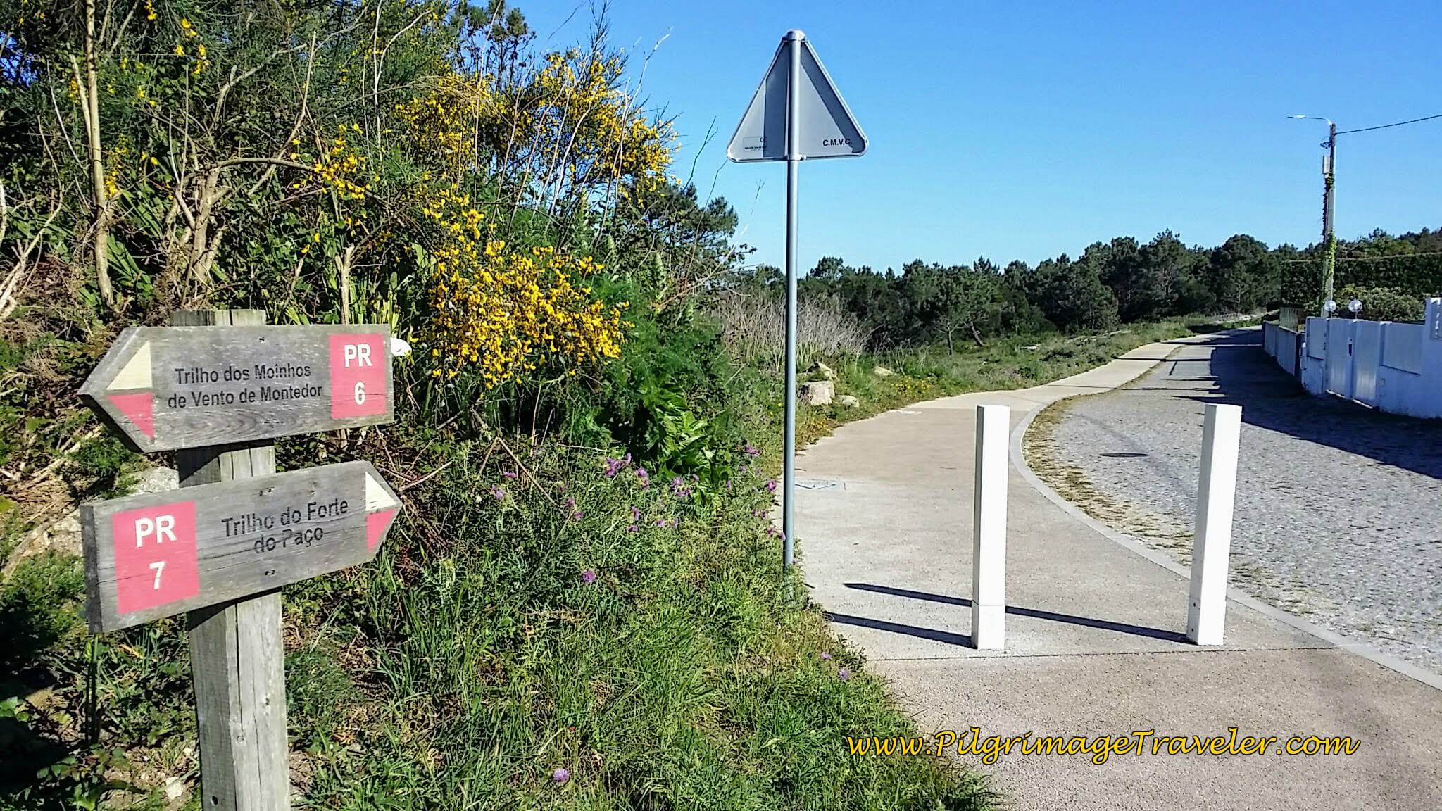 Trail Marker on the Avenida de Montedor on day eighteen of the Portuguese Way on the Senda Litoral