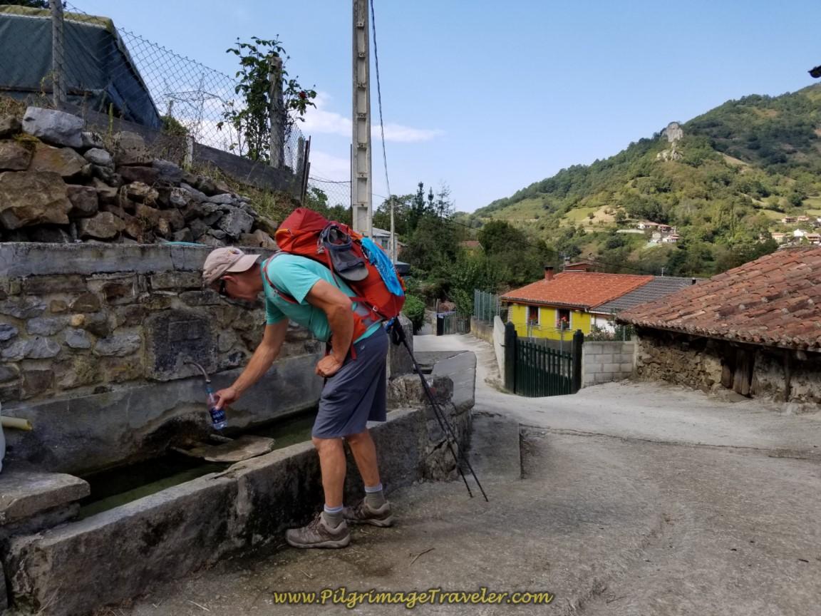 Fountain in Fresneo on day four of the Camino de San Salvador