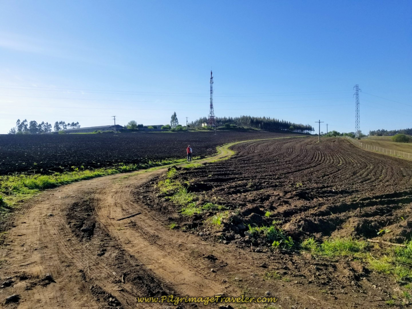 Open, Plowed Fields at the Peito on day two of the La Coruña Arm of the Camino Inglés