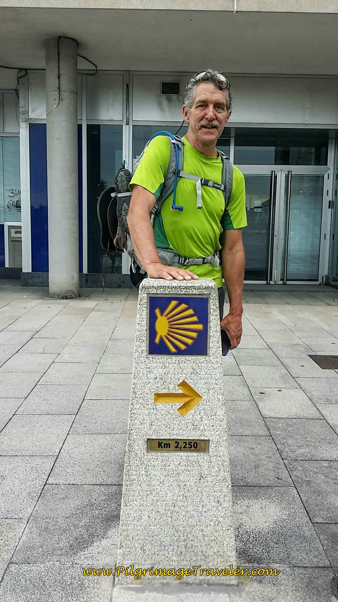 Rich at the 2.25 Kilometer Waymark on day twenty-five of the Portuguese Way