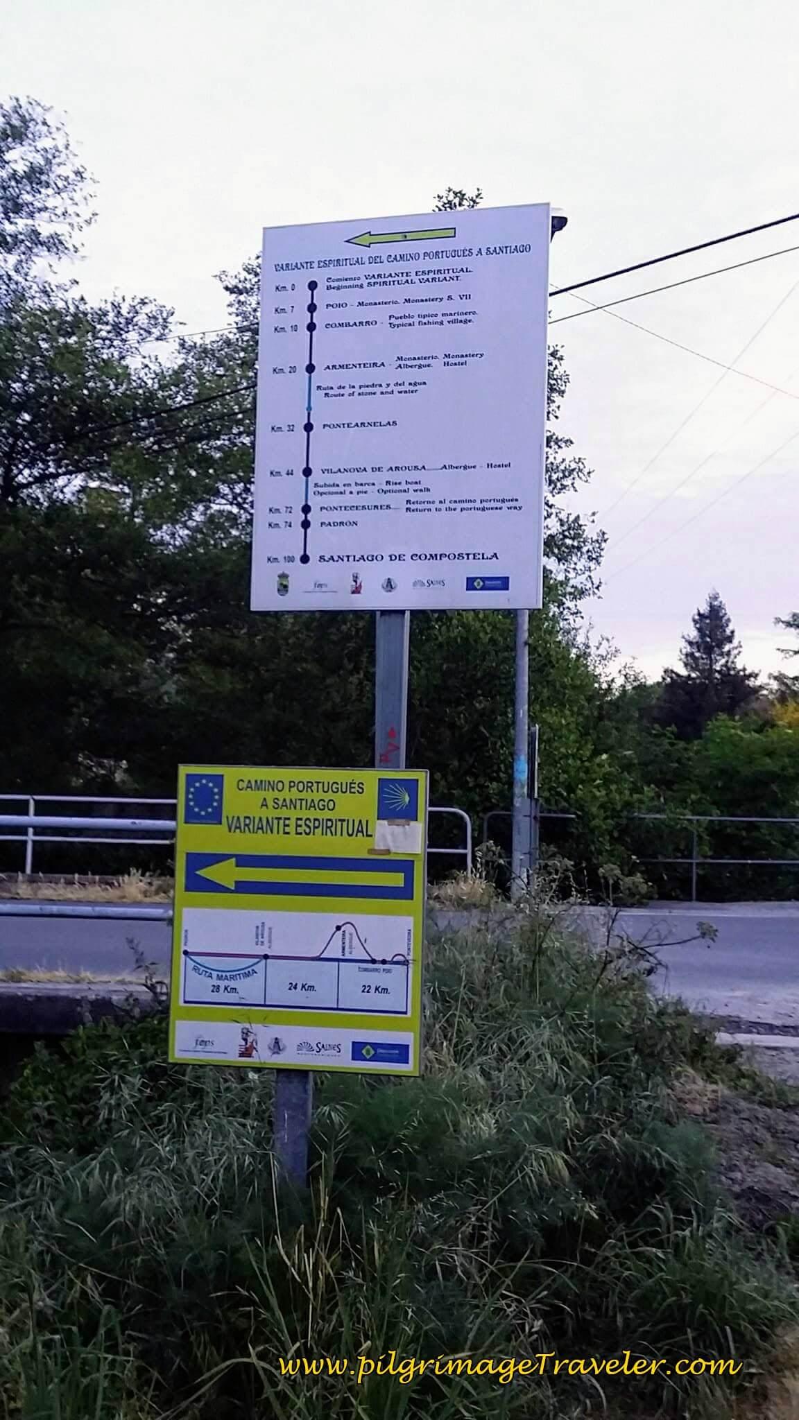 Turn Here for the Variante Espiritual on day twenty-three, Camino Portugués
