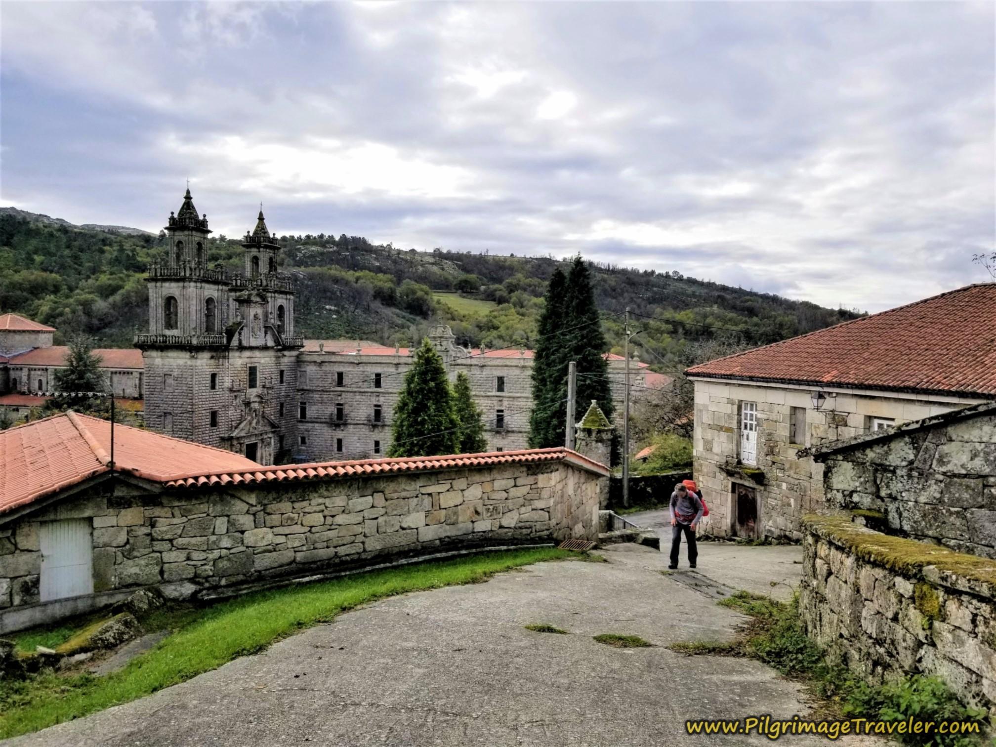 Look Back on the Mosteiro de Oseira, Camino Sanabrés, Cea to Estación de Lalín