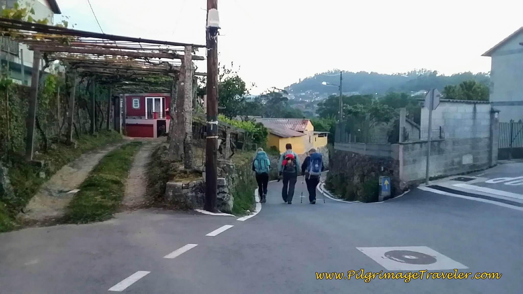 Here is a quaint arbor over a driveway to a home along the Rúa da Gándara on day twenty-three, Camino Portugués